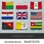 wave country flag with shadows... | Shutterstock .eps vector #384870295