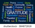 gratitude word cloud on blue... | Shutterstock . vector #384872818