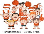 group of cartoon sport fans and ... | Shutterstock .eps vector #384874786