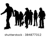 silhouette of boy and girl on... | Shutterstock .eps vector #384877312