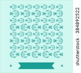 a pattern of fishes is in rows | Shutterstock .eps vector #384892522