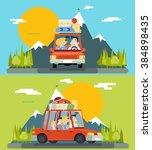 car trip family adult children... | Shutterstock .eps vector #384898435