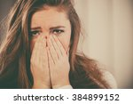 sadness and emotional distress. ... | Shutterstock . vector #384899152