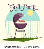 grill party vector | Shutterstock .eps vector #384911398