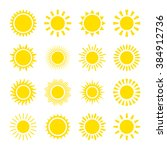 set of yellow icons of the sun  ... | Shutterstock .eps vector #384912736