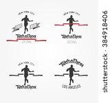 hand drawn marathon logotypes ... | Shutterstock .eps vector #384918406