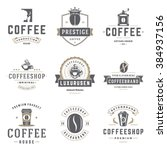 coffee shop logos templates set.... | Shutterstock .eps vector #384937156