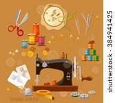 seamstress and tailor sewing... | Shutterstock .eps vector #384941425
