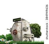 time machine on green grass | Shutterstock . vector #384949636