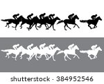 Stock vector horse racing competition jockeys on horses galloping on the racetrack black and white 384952546