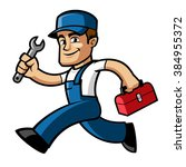 plumber  he is running and... | Shutterstock .eps vector #384955372