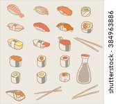 sushi and rolls collection | Shutterstock .eps vector #384963886