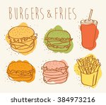 colorful burgers and fries | Shutterstock .eps vector #384973216