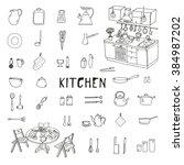kitchenware. doodle set.... | Shutterstock .eps vector #384987202