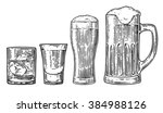 set glass for beer  whiskey ... | Shutterstock .eps vector #384988126