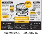 Restaurant brochure vector, menu design. Vector cafe template with hand-drawn graphic. Food flyer. | Shutterstock vector #385008916