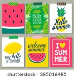 vector set of bright summer... | Shutterstock .eps vector #385016485