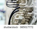 bnc connection on patch panel | Shutterstock . vector #385017772