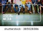 digital media network online... | Shutterstock . vector #385028386