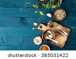 culinary background with spices ... | Shutterstock . vector #385031422