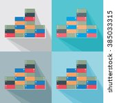 stack of shipping containers... | Shutterstock .eps vector #385033315