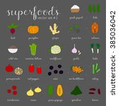 hand drawn superfoods isolated... | Shutterstock .eps vector #385036042