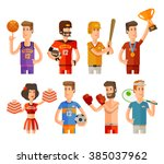 sport and athletes icons set.... | Shutterstock .eps vector #385037962