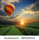 tea plantations under sky... | Shutterstock . vector #385040542