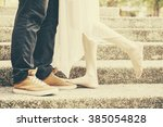 close up of legs of the kissing ... | Shutterstock . vector #385054828