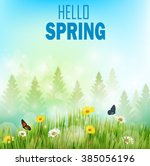 spring background with flowers... | Shutterstock .eps vector #385056196