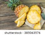 pineapple on the wood texture...