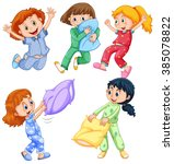girls in pajamas at slumber... | Shutterstock .eps vector #385078822