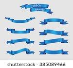 ribbon banner set.blue ribbons... | Shutterstock .eps vector #385089466