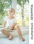 little kid at home | Shutterstock . vector #385099936