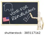 Small photo of Agitator encourages to vote for Republicans in US elections. Abstract image with a wooden puppet