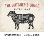 cut of beef set. poster butcher ... | Shutterstock .eps vector #385131556