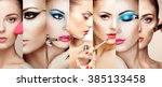 beauty collage. faces of women. ... | Shutterstock . vector #385133458