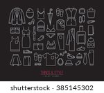 set of clothes icons in flat... | Shutterstock .eps vector #385145302