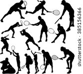tennis players silhouettes  ... | Shutterstock .eps vector #385156366