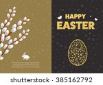 happy easter card with eggs.... | Shutterstock .eps vector #385162792