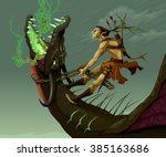 elf is riding the dragon.... | Shutterstock .eps vector #385163686