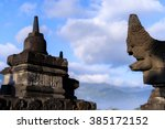 borobudur sunrise  unesco world ... | Shutterstock . vector #385172152