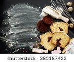 easter bunny cake preparing in...   Shutterstock . vector #385187422