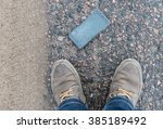 phone with broken screen on...   Shutterstock . vector #385189492