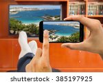 relaxed man with smartphone... | Shutterstock . vector #385197925