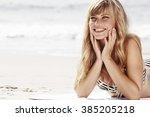 Sunbathing Babe On Beach ...
