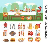 bbq party horizontal banner set ... | Shutterstock .eps vector #385207192