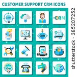 customer support crm square... | Shutterstock .eps vector #385207252