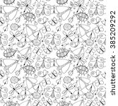 cute cartoon monochrome insect... | Shutterstock .eps vector #385209292