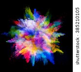 explosion of colored powder on... | Shutterstock . vector #385210105